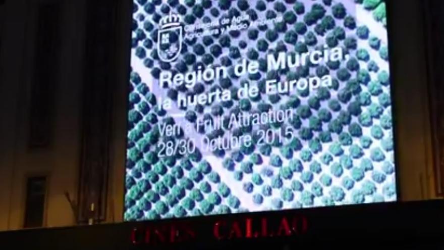 La huerta de Europa en la pantalla de la plaza de Callao, en Madrid