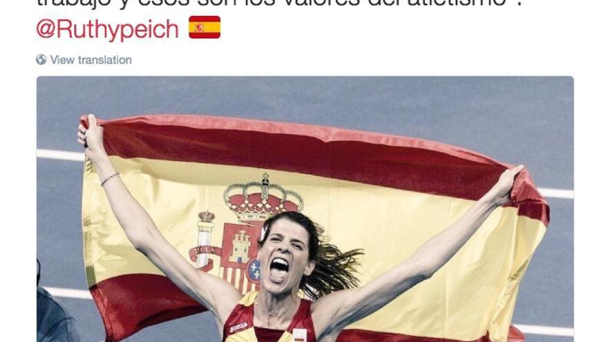 Tuit del equipo de Cristina Cifuentes tras la medalla de oro de Ruth Beitia en los Juegos Olímpicos