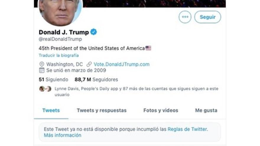 La cuenta de Twitter de Donald Trump fue suspendida por incitar a la violencia