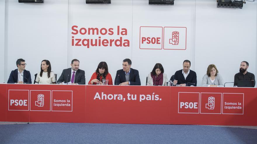 Pedro Sánchez encabeza la reunión de la Ejecutiva del PSOE.