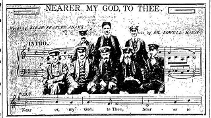 Ilustración de los músicos del Titanic
