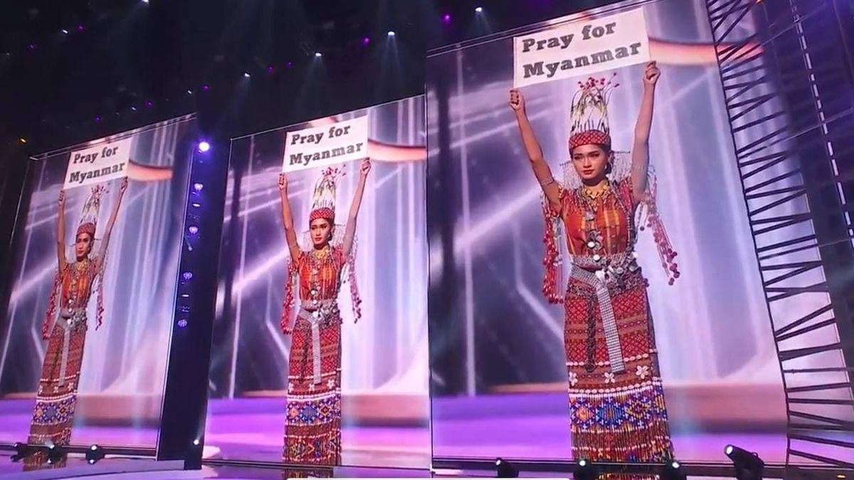 La candidata birmana a Miss Universo, Thuzar Wint Lwin, denuncia la situación de Myanmar en la gala de  Miss Universo