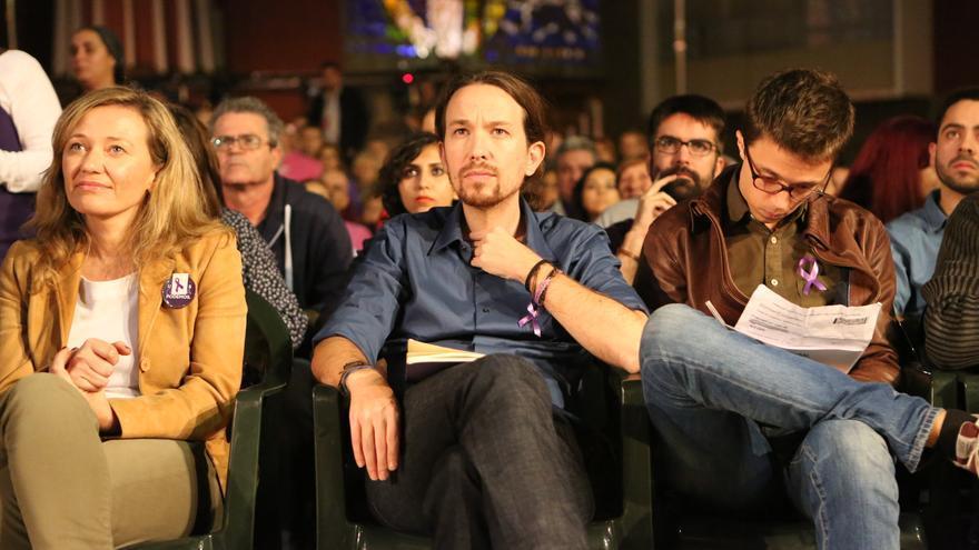 Victoria Rosell, Pablo Iglesias e Íñigo Errejón en Gran Canaria (ALEJANDRO RAMOS)