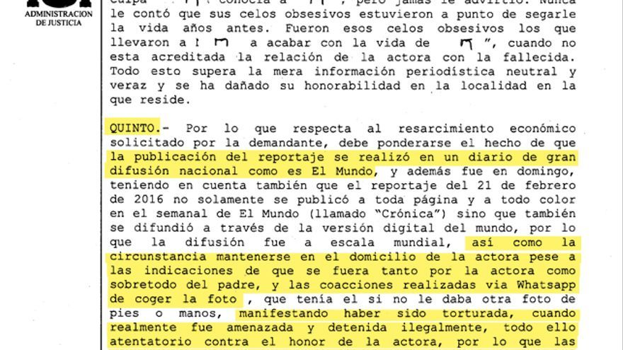 Fragmento de la sentencia contra El Mundo y Javier Negre