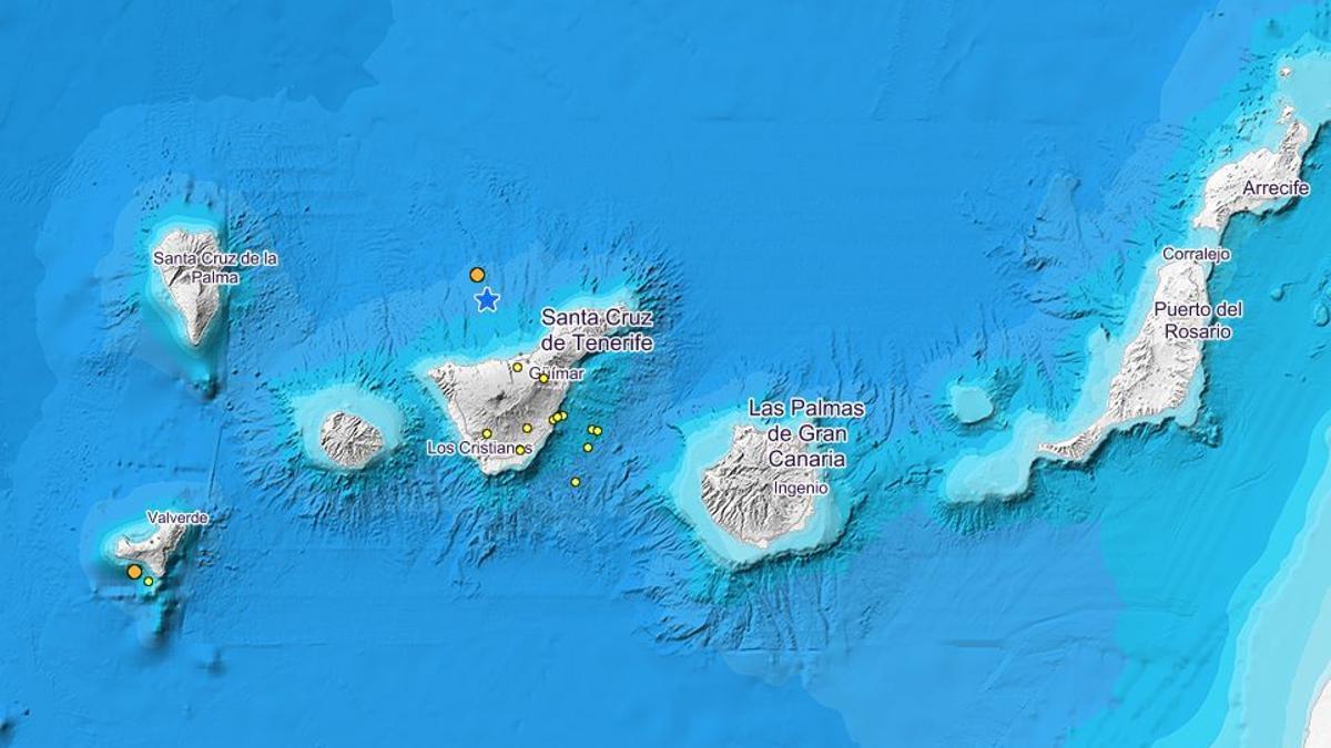 Temblores detectados al suroeste de El Hierro y al norte de Tenerife