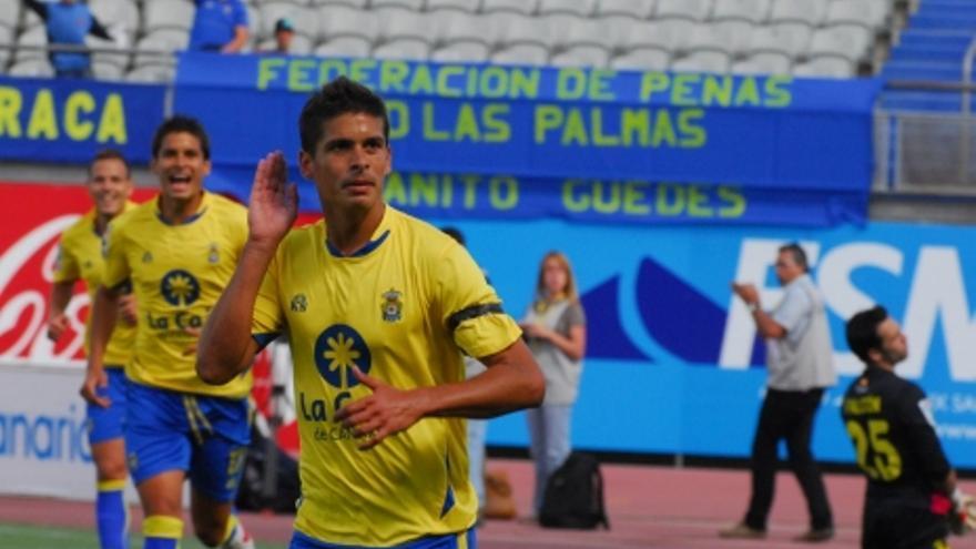 Sergio Suárez en el momento del gesto que ha desatado la polémica (ACFI PRESS).