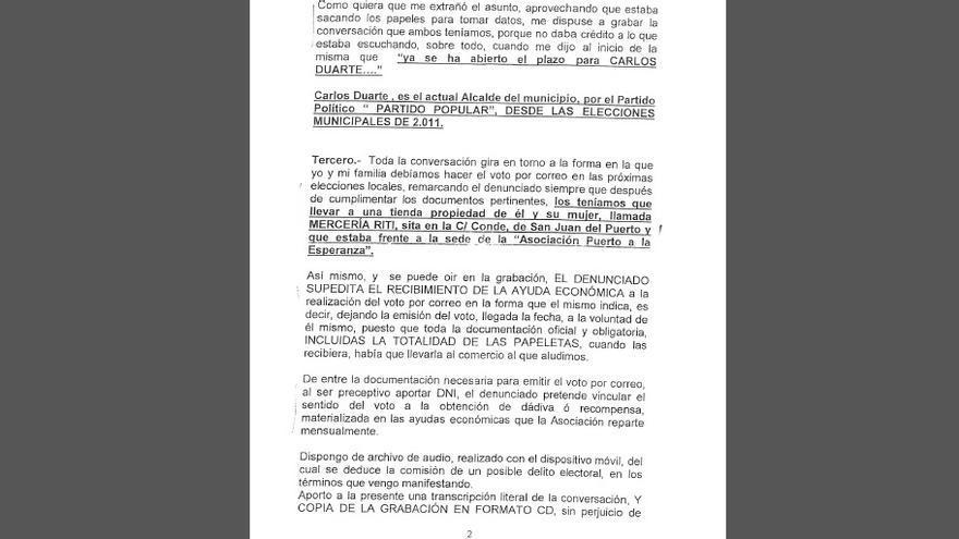 Parte de la denuncia presentada por el vecino de San Juan del Puerto por intento de compra de votos.