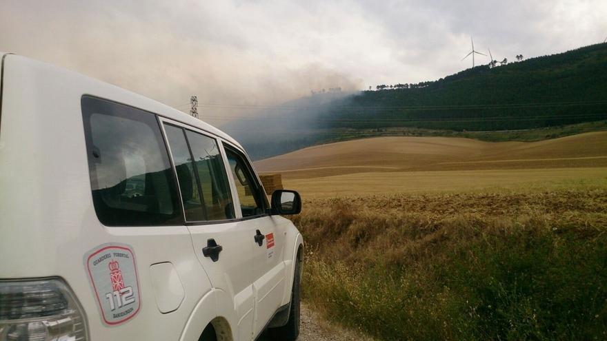 Un incendio afecta a unas 8 hectáreas de pinar en los altos de Aibar