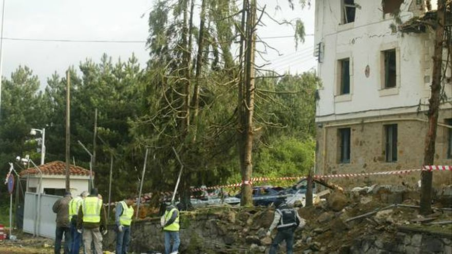 Vista del cuartel de Legutio tras el atentado