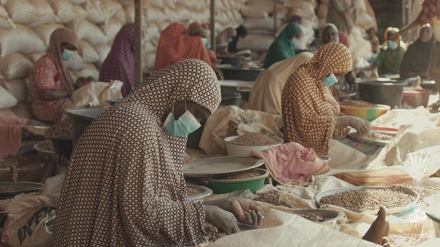 Trabajadoras de la chufa en una de las empresas asociadas con Tigernuts en Niger