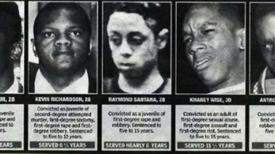 Los jóvenes condenados erróneamente por la violación.