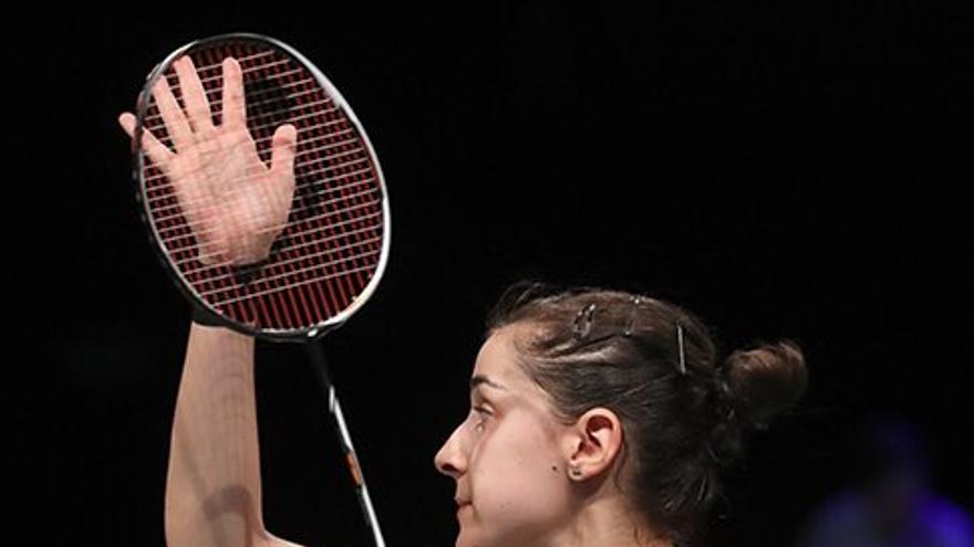 Carolina Marín celebra uno de sus numerosos partidos ganados