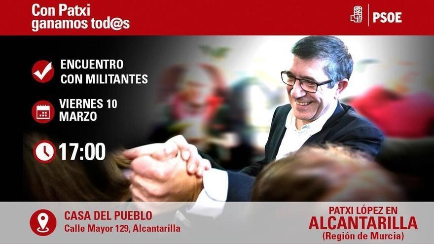 Patxi López presenta este viernes y sábado en Murcia su proyecto para liderar el PSOE