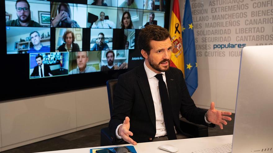 El presidente del Partido Popular, Pablo Casado, este viernes.