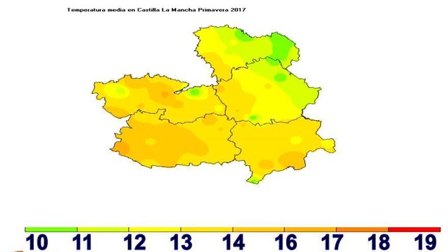 Temperaturas medias en Castilla-La Mancha durante la primavera / AEMET