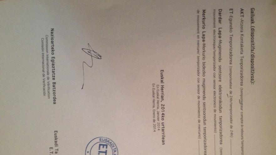 Actas de la relación de armas entregada por ETA a los verificadores