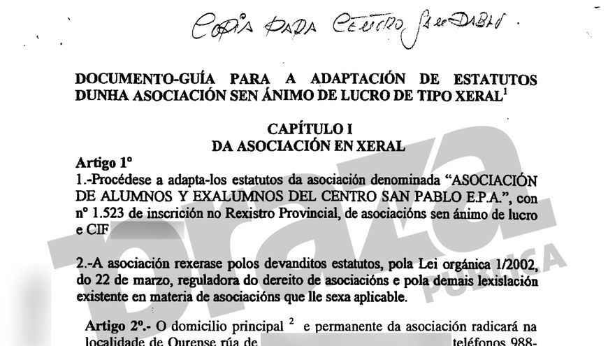 Documentación estatutaria de la asociación investigada por la Policía