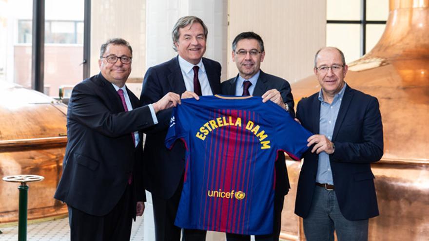 De izquierda a derecha: Ramon Agenjo, Jorge Villavecchia, Josep Maria Bartomeu y Manel Arroyo.