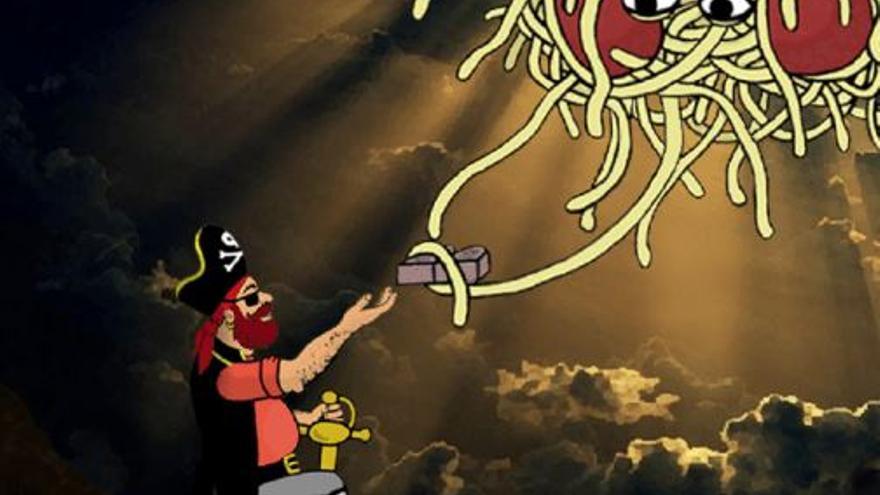 Ilustración del Capitán Mosey recibiendo las sagradas escrituras / Pastafarismo.es