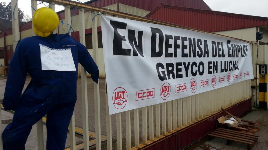 La entrada de la factoría Greyco, lugar de reunión de los trabajadores durante la huelga.