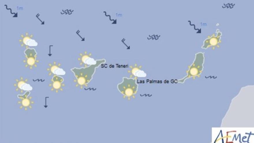 Mapa con la previsión meteorológica para este domingo, 8 de octubre de 2017