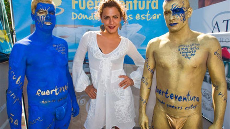 La exconcursante canaria de Gran Hermano, Amor, en un acto en Fuerteventura.