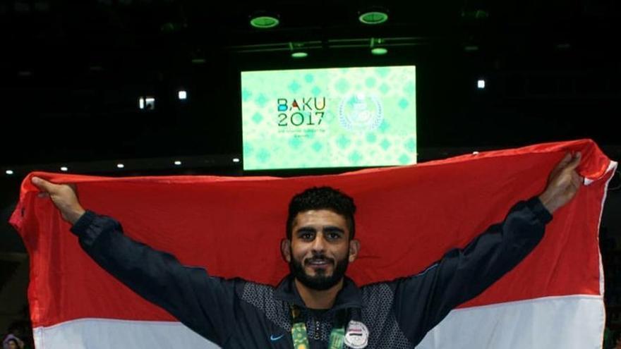 Helal Al-Hajj, durante los juegos de Baku.