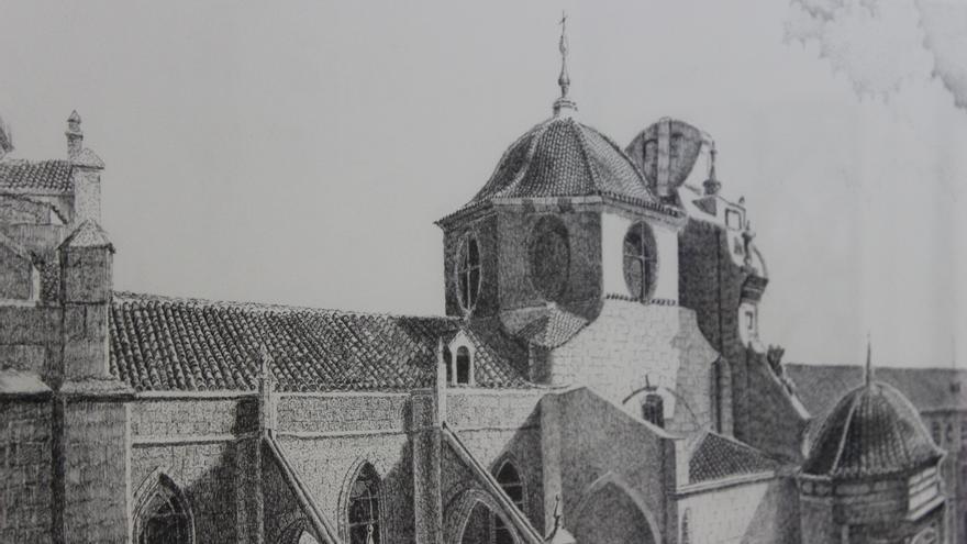Cubiertas de la Catedral de Murcia, tinta china del pintor Jaime Dengra / PSS