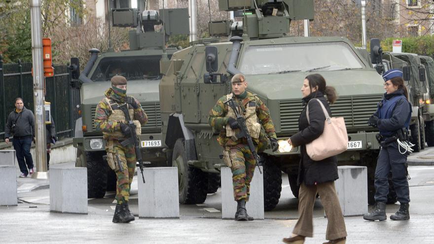 La ciudad de Bruselas, tras declararse el nivel máximo de alerta por riesgo de atentado. / ZUMA Press