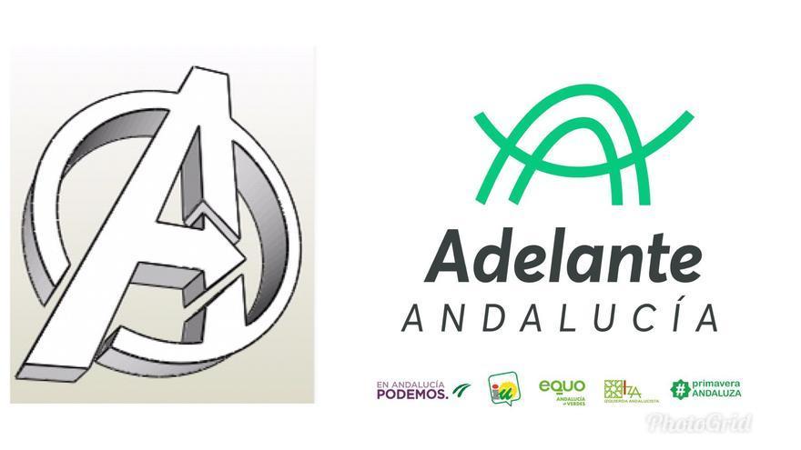 A la izquierda, el logo de Los Vengadores (Avengers, en inglés), a la derecha, el logo definitivo de Adelante Andalucía.