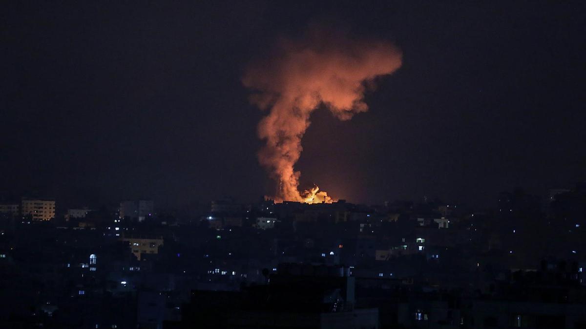 Imagen de uno de los enfrentamientos entre Gaza e Israel en el quinto día de conflicto