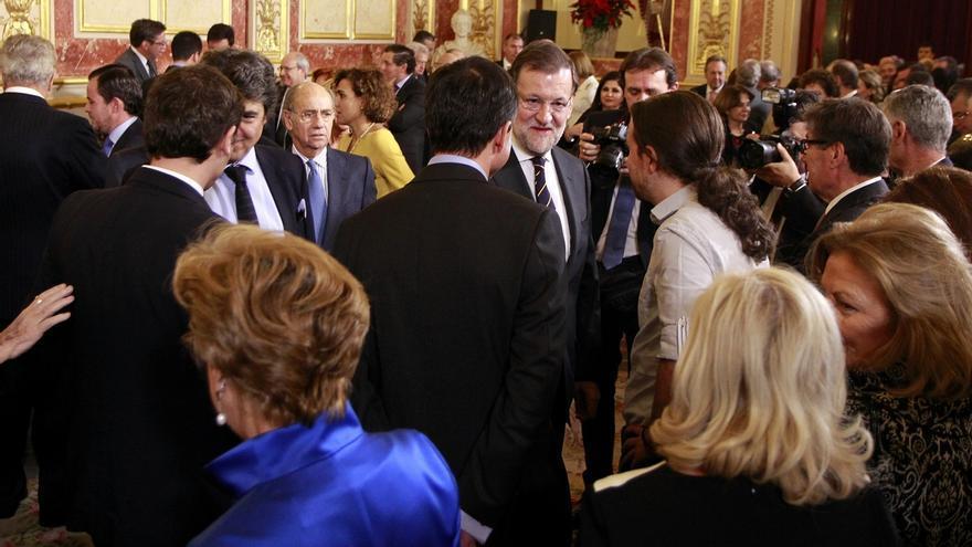 Rajoy, Sánchez, Rivera e Iglesias, juntos por primera vez en la recepción por el Día de la Constitución