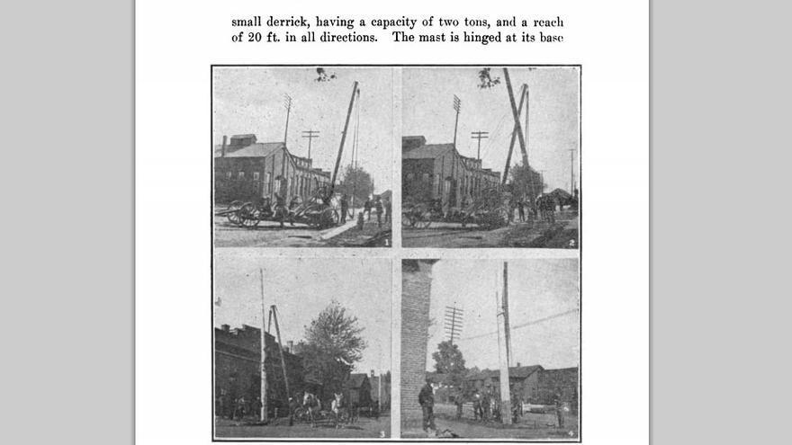 Uno de los manuales disponibles en Survivor Library, 'Telefonía' de 1903, explica cómo se construyen las líneas aéreas de telefonía