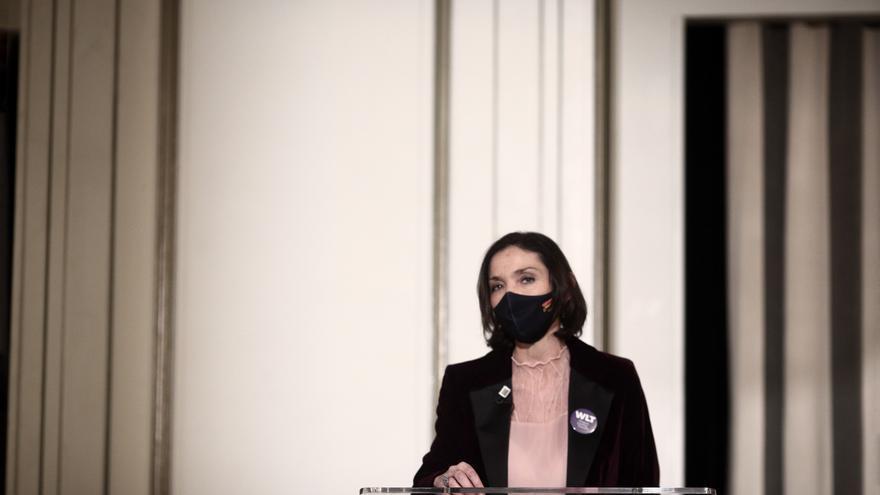La ministra de Industria, Comercio y Turismo, Reyes Maroto, interviene en el evento 'She-Covering Tourism', en Madrid (España), a 1 de marzo de 2021.