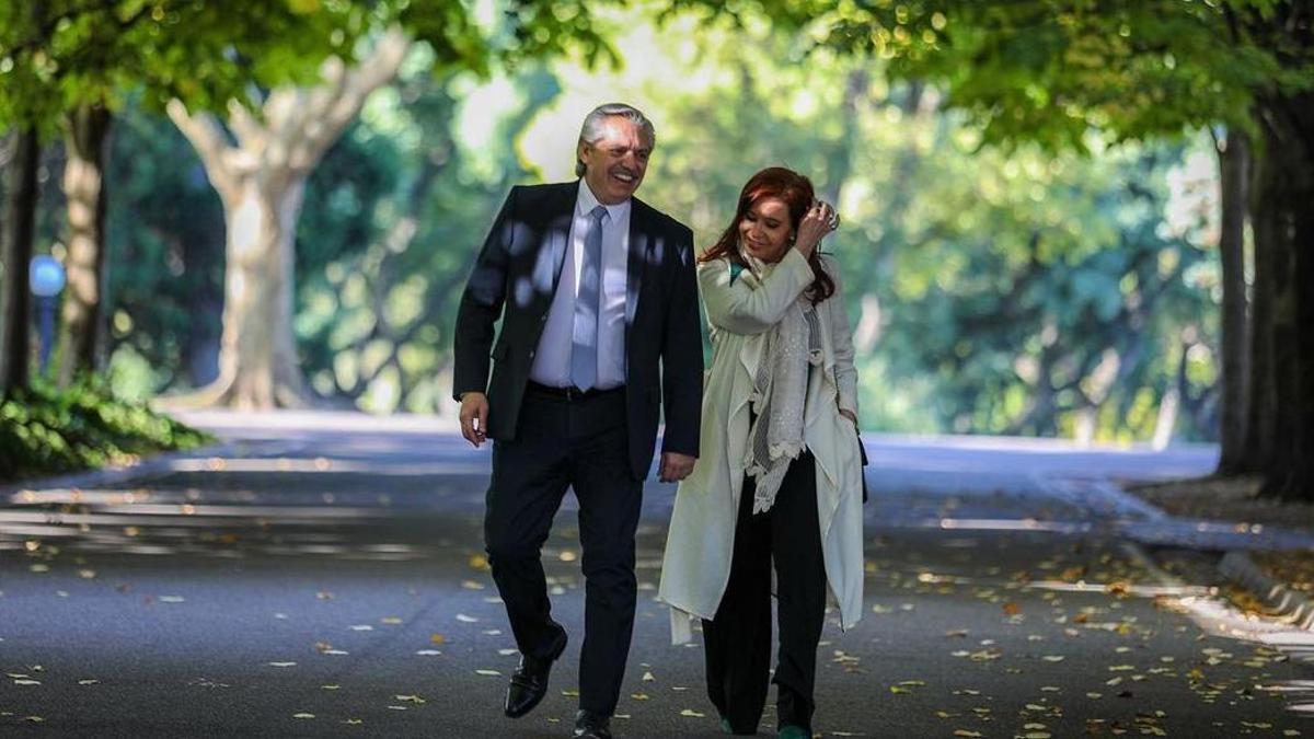Alberto Fernández y Cristina Kirchner, en Olivos