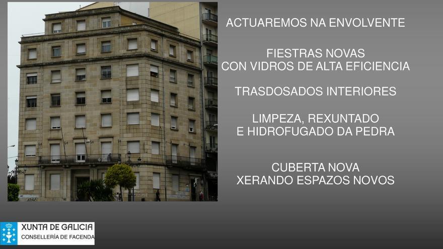 Presentación sobre el edificio entregada por la Xunta a los contratistas de las obras de rehabilitación