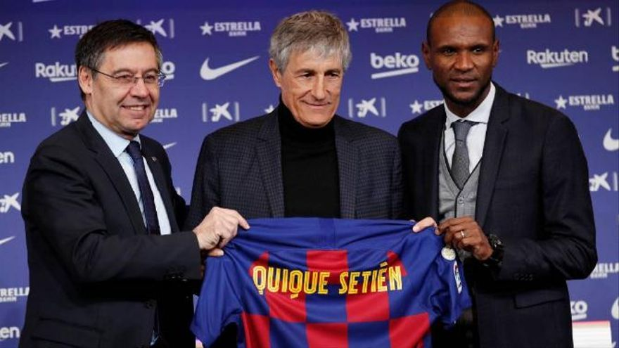 Presentación de Quique Setién como entrenador del FC Barcelona.