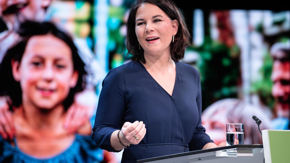 Annalena Baerbock, copresidenta de los Verdes, durante la presentación de su candidatura a la Cancillería alemana.