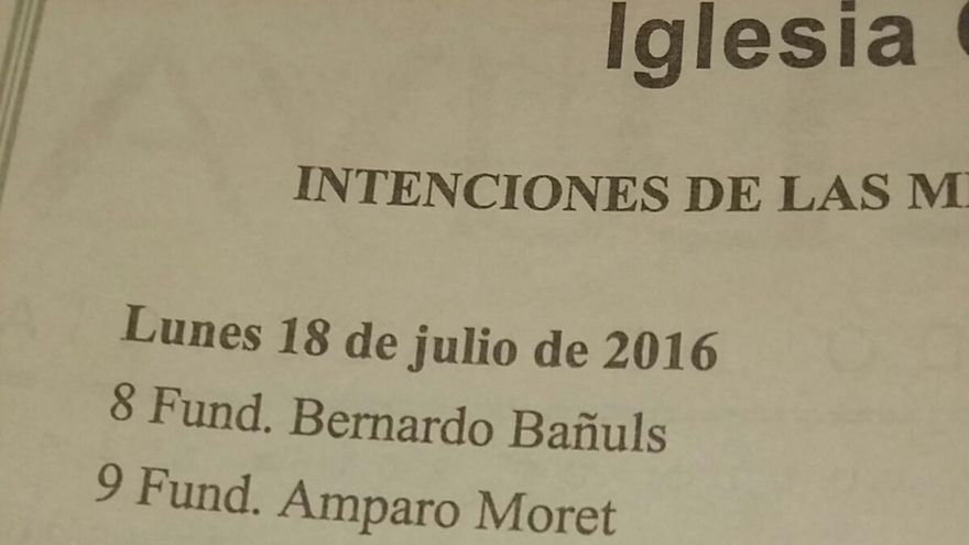 La misa del 18 de julio en la catedral de Valencia es en sufragio de Francisco F.
