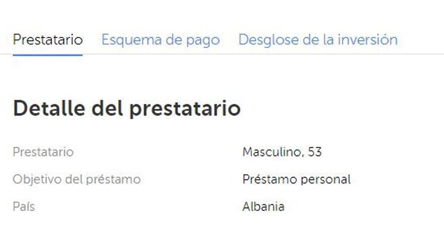 Detalle del señor albanés que pidió un préstamo de 1.200 euros que terminó en Mintos