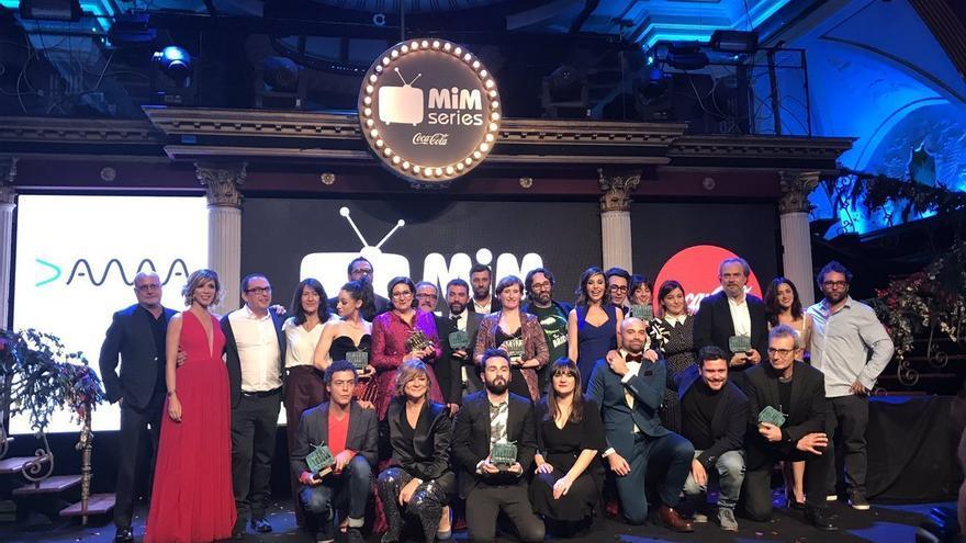 Foto de familia en los Premios MiM Series 2017-2018