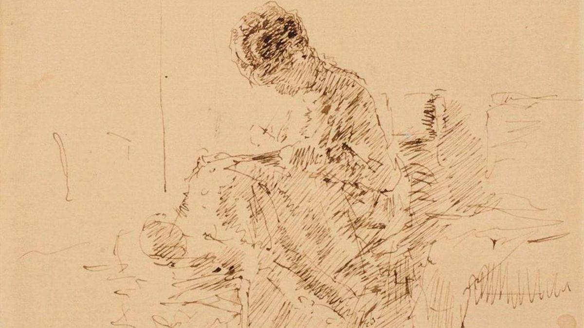 La obra' La señora de Agrasot bordando', de Mariano Fortuny.