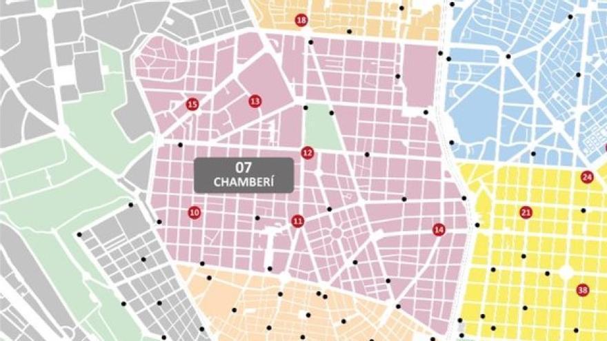 Ubicación prevista de las nuevas estaciones de Bicimad para Chamberí