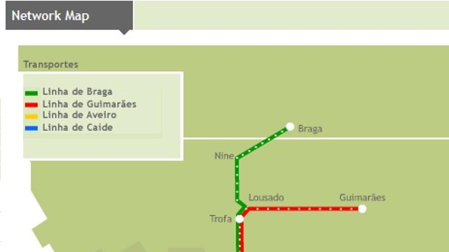 Trayectos de la compañía Comboios de Portugal