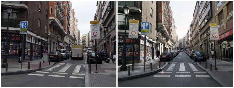 Entrada a la 'trampa' de Leganitos, antes y después (derecha) de que se añadiera otra señal | EL ESPAÑOL