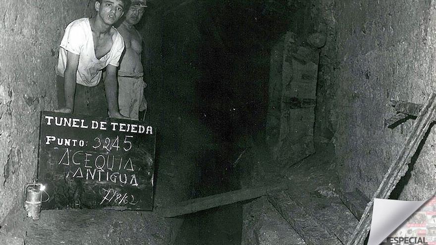 Obras en el Tunel de Tejeda, 1962.