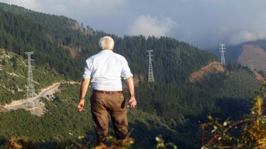 Un hombre observa las torretas de la línea de alta tensión en Bizkaia que fueron derribadas./ EDN.