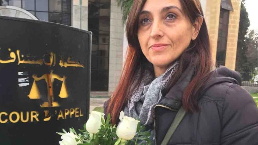 La activista Helena Maleno, a la salida del Tribunal de Apelación de Tánger.