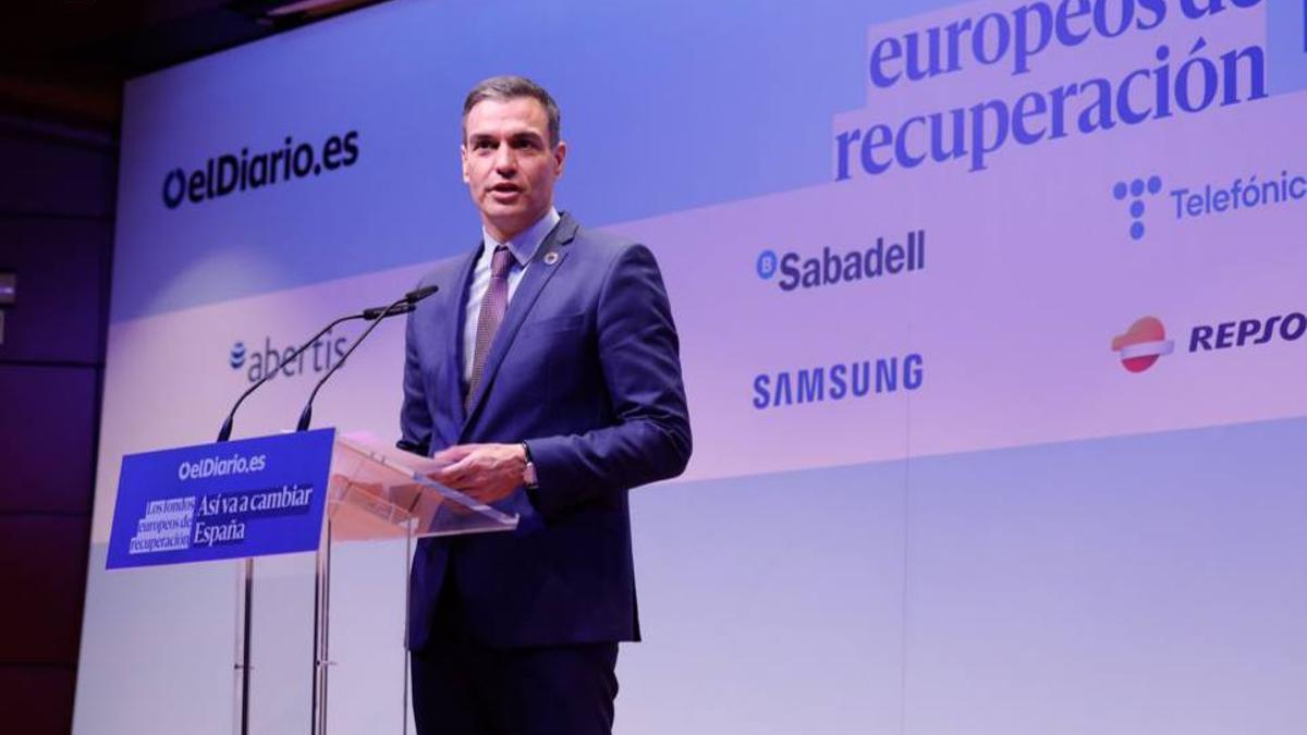 El presidente del Gobierno, Pedro Sánchez, este miércoles en la clausura de la jornada sobre fondos europeos de elDiario.es.