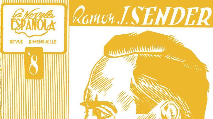 Portada de la edición original de 'El vado', datada en 1948 en Toulouse. La ilustración, en línea con el resto de la serie 'La Novela Española', es un retrato del autor a cargo del cartelista y dibujante Antonio Argüello.